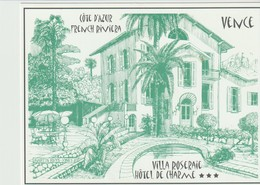 VENCE - COTE D'AZUR - FRENCH RIVIERA - VILLA ROSERAIE - HOTEL DE CHARME - PLAN AU DOS - Visiting Cards