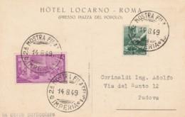 CARTOLINA 1949 L.1+4 RISORGIMENTO MOSTRA FILATELICA IMPERIA-IN CORSO PARTICOLARE (EX493 - 6. 1946-.. República