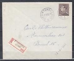 Aangetekende Brief Van St Kwintens Lennik Naar Brussel - 1936-1951 Poortman