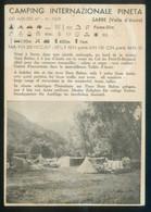 Italia. Sarre. *Camping Internazionale Pineta ..* Ed. Italiana. Circulada Helsinki 1965. - Publicidad