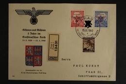"""Böhmen & Mähren, Dekorativer Zudruck """"3 Jahre Im Großd. Reich"""" - Occupation 1938-45"""