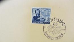 """DR: """"Kameradschaftsblock"""" 1944 Mit SoSt. 17.7.44 Innsbruck 7. Landessch., Marken Je Auf Kartengroße Unterlage Knr: 888/3 - Briefe U. Dokumente"""