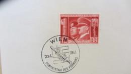 """DR: """"Hitler U. Mussolini"""" 1941 Mit SoSt. Wien Geb. Des Führers 20.4.1941- Geb., Marke Auf Kartengroße Unterlage Knr: 673 - Briefe U. Dokumente"""
