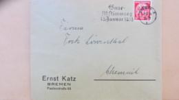 """DR: Fern-Brief Mit 12 Pf Saarabstimmung Mit Pass. MWSt """"Saarabstimmung 1. Januar 1935"""" Bremen 5 Vom 3.10.34 Knr: 545 - Deutschland"""