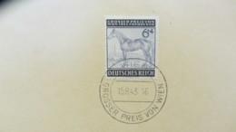 """DR: 6+4 Pf U. 12+88 Pf """"Großer Preis Von Wien"""" 1943 Mit SoSt. Wien15.8.43, Marken Auf Kartengroße Unterlage Knr: 857/8 - Briefe U. Dokumente"""