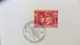 """DR: """"Hitler U. Mussolini"""" 1941 Mit SoSt. Berlin-Charlottenburg 20.4.1941- Geb., Marke Auf Kartengroße Unterlage Knr: 673 - Briefe U. Dokumente"""