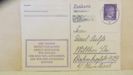 """DR: Gs-Karte 6 Pf Adolf Hitler, MWSt """"Vermeidet Rundfunkstörungen!"""" Bautzen 2 18.1.44 Nach Wilthen (Sa.) Knr: P 312/08 - Deutschland"""
