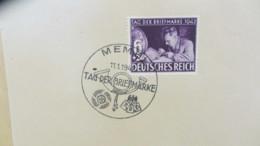 DR: 6 + 24 Pf Tag Der Briefmarke 1942, SoSt. Memel (feinst) Vom 11.1.42, Marken Auf Kartengroße Unterlage,   Knr: 811 - Briefe U. Dokumente