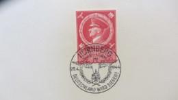 """DR: """"55. Geburtstag 1944"""" SoSt. NÜRNBERG 20.4.1944, Deutschland Wird Siegen! Marke Auf Kartengroße Unterlage Knr: 887 - Deutschland"""