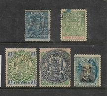 Rhodesia  / B.S.A.Co.5 Stamps, Fiscally Used, Poor Condition - Southern Rhodesia (...-1964)