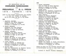 Poelkapelle 1978 Kermis 1979 Gedachtenis Overleden Parochianen O.-L.-Vrouw - Décès