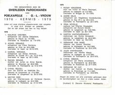 Poelkapelle 1979 Kermis 1980 Gedachtenis Overleden Parochianen O.-L.-Vrouw - Décès