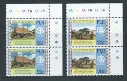Fiji 1987 International Homeless Year Set 2 As Matched Marginal Pairs With Plate Numbers MNH - Fidji (1970-...)
