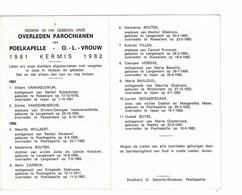 Poelkapelle 1981 Kermis 1982 Gedachtenis Overleden Parochianen O.-L.-Vrouw - Décès