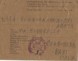 BIGLIETTO PRIGIONIERI POW CAMP DEPOT XVI TUNIS TUNISIA 1946 CARBONARA DI BARI - 1900-44 Vittorio Emanuele III