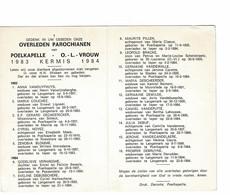 Poelkapelle 1983 Kermis 1984 Gedachtenis Overleden Parochianen O.-L.-Vrouw - Décès