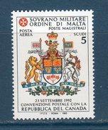 """S.M.O.M 1993 -- Posta Aerea """"Repubblica Del Canada -- ** MNH /VF - Sovrano Militare Ordine Di Malta"""