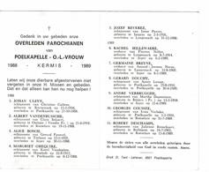 Poelkapelle 1988 Kermis 1989 Gedachtenis Overleden Parochianen O.-L.-Vrouw - Décès