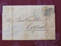 Denmark 1883 Cover Copenhagen To Cognac Via Paris - Stamp Broken - Wine Topic - 1864-04 (Christian IX)