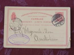 "Denmark 1899 Stationery Postcard ""arms Lions"" Copenhagen To Holland - 1864-04 (Christian IX)"