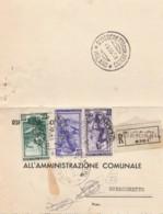 RACCOMANDATA 1951 10+20+50 ITALIA AL LAVORO TIMBRO ROBECCHIETTO INDUNO (EX573 - 6. 1946-.. Repubblica