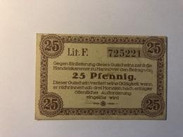Allemagne Notgeld Hannover 25 Pfennig - [ 3] 1918-1933 : République De Weimar