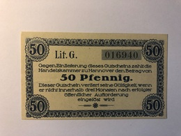 Allemagne Notgeld Hannover 50 Pfennig - [ 3] 1918-1933 : République De Weimar
