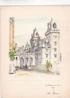 LES CHATEAUX DE FRANCE, PAU. AIR FRANCE MENU. GRAVURE PAR PIERRE PAGES SIZE 26x20 Cm CIRCA 1950s - BLEUP - Menus