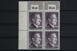 Deutsches Reich, MiNr. 800 B, 4er Block, Ecke Li. Oben, Postfrisch / MNH - Germany
