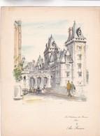 LES CHATEAUX DE FRANCE, PAU. FRONT D'AIR FRANCE MENU. GRAVURE PAR PIERRE PAGES SIZE 26x20 Cm CIRCA 1950s - BLEUP - Menus