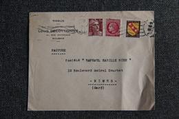 Timbres Sur Lettre Enveloppe Publicitaire - ROUBAIX, Tissus, Maison Louis DECOTTIGNIES. - France