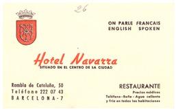 HOTEL NAVARRA RAMBLA DE CATALUNA   BARCELONA - Visiting Cards