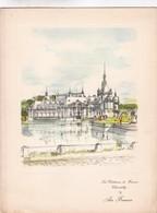 LES CHETEAUX DE FRANCE:CHANTILLY-AIR FRANCE MENU. GRAVURE PAR PIERRE PAGES SIZE 26x20 Cm CIRCA 1950s - BLEUP - Menus