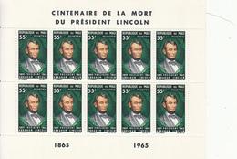 1965 Mali Lincoln Anti-slavery 2 Miniature Sheets Of 10  MNH - Mali (1959-...)