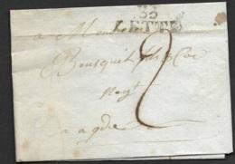 Hérault-Lettre Avec Marque Linéaire 33 CETTE (33*13)-Pour Agde - Marcophilie (Lettres)