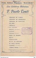"""Partiton Musicale : édition  Ricordi  ."""" Je Pleure """" . (  Paroles De Liton Chevalet . Musique De Paolo Tosti ) . - Partitions Musicales Anciennes"""