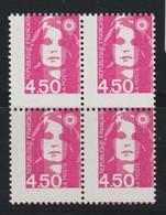 YT 3007 ** 4,50F Rose Briat, Bloc De 4 TP, Piquage Très Décalé - Variétés Et Curiosités