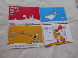 LOT DE 4 CARTES ILLUSTRATIONS SALON ALNOC 1982..84..85 ET 1986 ..SIGNE DELESTRE - Bourses & Salons De Collections