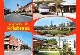 Serbia Srbobran / Pozdrav, Greetings, Bus Station, Bridge, Church / Unused, Uncirculated - Serbia