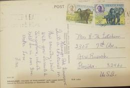 O) 1969 SWAZILAND, KING SOBHUZA II-MONKEY-CHACMA BABOON-OLD WORLD MONKEY, ELEPHANTS, POSTAL CARD HOUSES OF PARLIAMENT, T - Swaziland (1968-...)