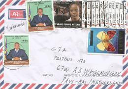 DRC RDC Congo Zaire 2018 Butembo Code Letter C AIDS HIV 470FC Butterfly Overprint Extra Green C Kabila Cover - Democratische Republiek Congo (1997 - ...)