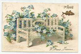 Aprilvis Poisson D'Avril  Relief Embossed Ca 1905 - Erster April