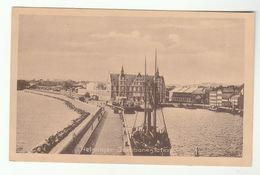1919 Postcard  PORT HELSINGOR Denmark  Jerobanestation Elsinore Sailing Ship - Denmark