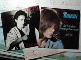 JANE BIRKIN. PAIRE DE 45 TOURS. 1983 / 1985 QUOI GENERIQUE DE LA SERIE TV CINECITTA / COMME UN GABBIANO / FUIR LE BONHE - Vinyles