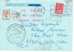 1664 Bequet 50 C. Vert + Taxe 99 Et Taxe 100   Lettre Grève Paquebot France 20-09-1974 - 1971-76 Marianne De Béquet