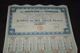 Les Moulins Du Khroub 10000 Frs 1956 - Actions & Titres