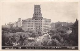 BARCELONA. PASEO DE GRACIA Y AVENIDA JOSE ANTONIO. ED P.DUMMATZEN. VOYAGEE AÑO 1947 SIGNEE - BLEUP - Barcelona