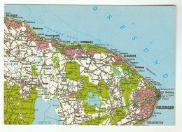 Postcard  MAP DENMARK Geodesic Institute 1 Cm  1514  HELSINGOR , HORNBAECK - Denmark