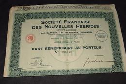 Société Française Des Nouvelles Hébrides 1931 Complet - Actions & Titres
