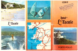 CORSE -HOTEL L'ESCALE- PORTO-POLLO  GOLFE DU VALINCO - Dépliants Touristiques